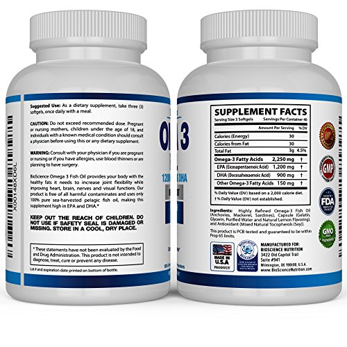 Omega 3 fish oil 2250mg high epa 1200mg dha 900mg for Daily recommended fish oil