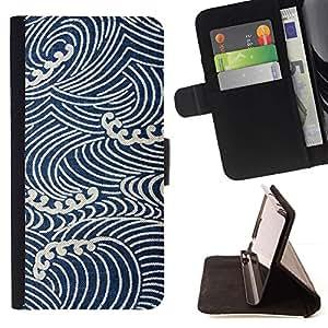 Momo Phone Case / Flip Funda de Cuero Case Cover - Las olas del mar Wallpaper Vignette - Samsung Galaxy J1 J100