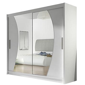 Mirjan24 Kleiderschrank Mit Spiegel London Ix Laminatplatte Weiss