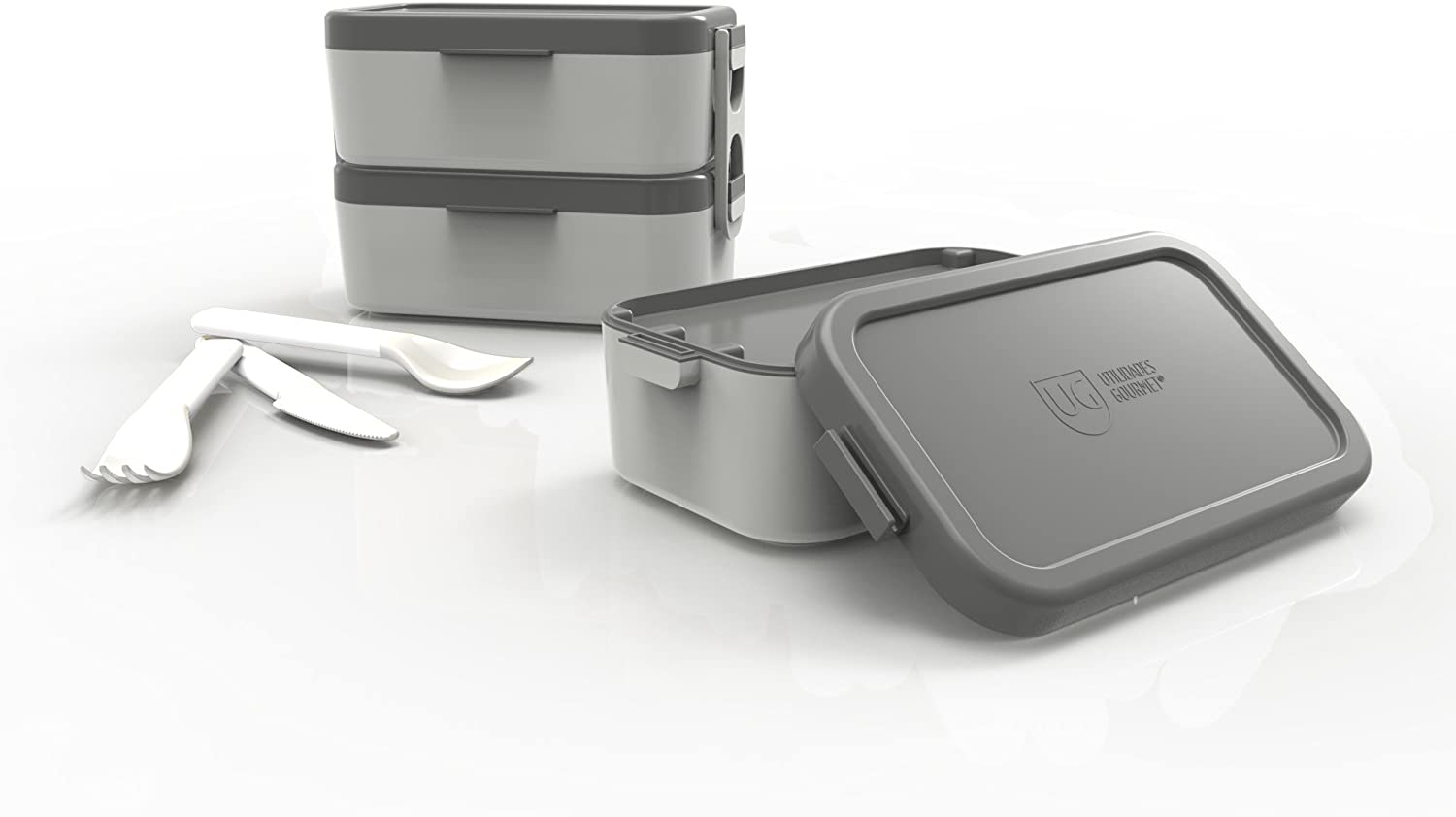 Bento Lunch Boxes - Reusable 2 Compartment Food Containers for School, Work and Travel. All-in-One – Includes 2 Stackable Containers and 1 Knife, 1 Spoon and 1 Fork. Kids Lunch Box. (Gray)