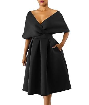 a7bd199a488 Lalagen Women s Vintage 1950s Cocktail Party Dress Flare Swing Midi Dress  Black S