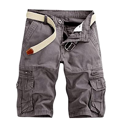 Seaintheson Men's Casual Pure Color Outdoors Pocket Beach Work Trouser Cargo Shorts: Clothing