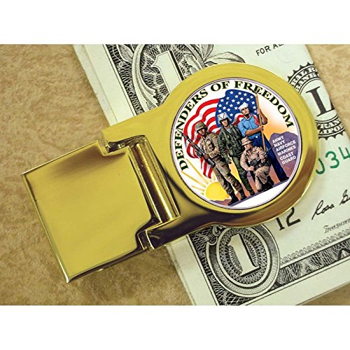 - Coin Money Clip - New York Statehood Quarter Colorized with Defenders of Freedom | Brass Moneyclip Layered in Pure 24k Gold | Holds Currency, Credit Cards, Cash | Genuine U.S. Coin