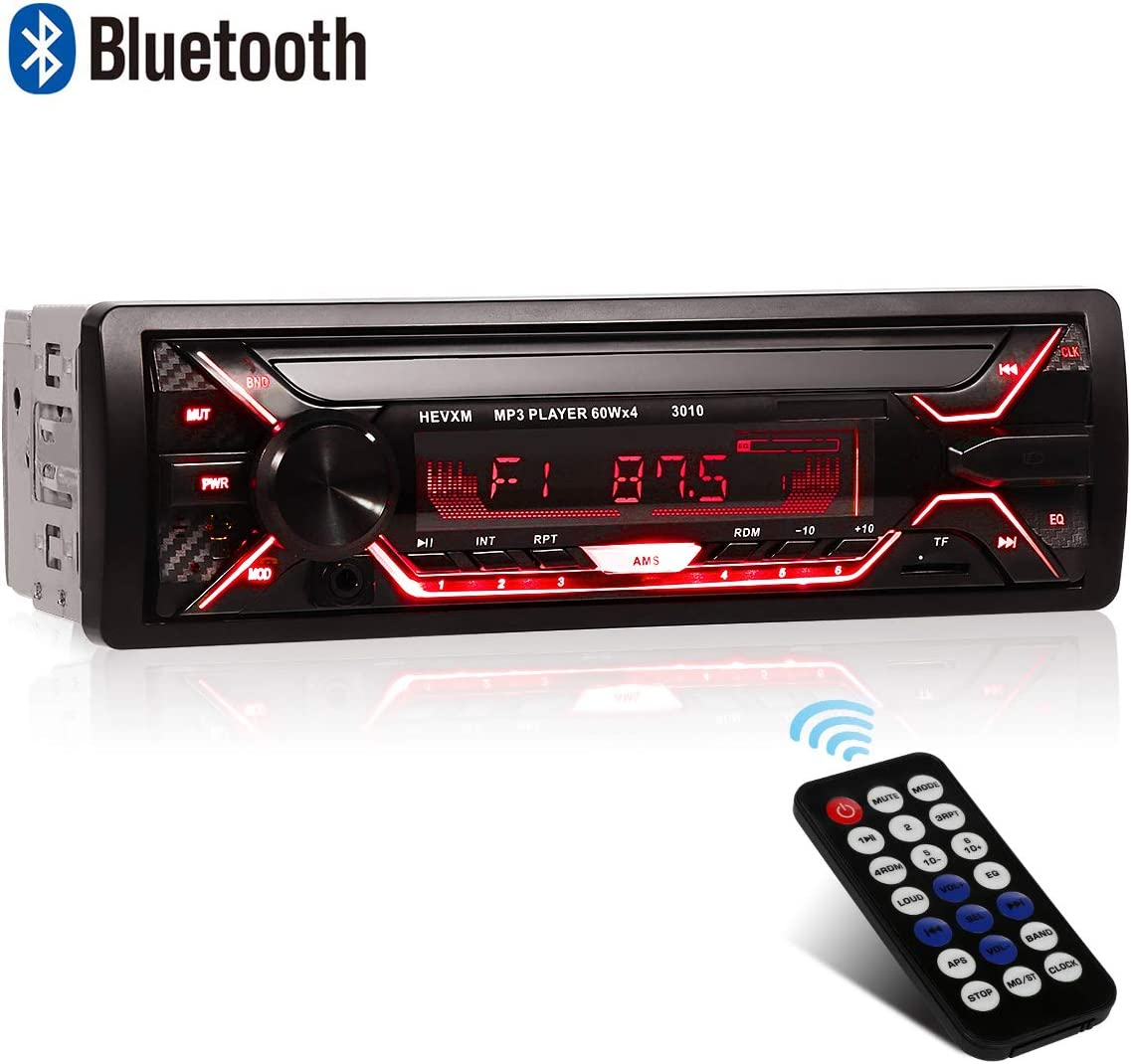 WesKimed Autoradio Bluetooth Manos Libres 7 Retroiluminación en Color Radio FM Estéreo de Coche 60Wx4 Apoyo de Reproductor MP3 para Automóvil con Capacidad para 18 Emisoras de Radio, 1DIN