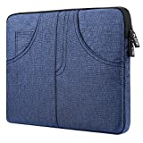 Plemo 13 - 13.3 In Water Resistant Sleeve Denim Laptop Case with Side Pocket for MacBook, Surface, Dell XPS, HP, Chromebook, Notebook, iPad Pro 12.9 Inch, Blue