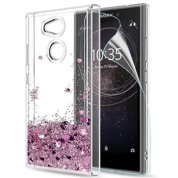 LeYi Funda Sony Xperia L2 Silicona Purpurina Carcasa con HD Protectores de Pantalla,Transparente Cristal Bumper Telefono Gel TPU Fundas Case Cover ...