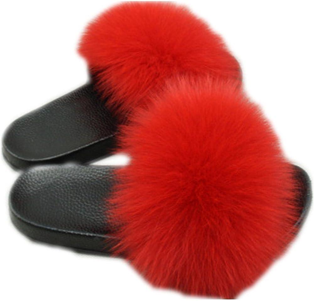 Women Real Fox Fur Feather Leather Open Toe Single Strap Slip On Sandals Multicolor