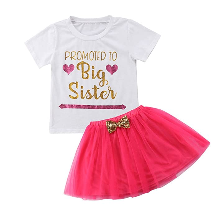 cea386e24 Amazon.com  Toddler Baby Kid Girls Big Sister T-Shirt Top+Tutu Bow ...