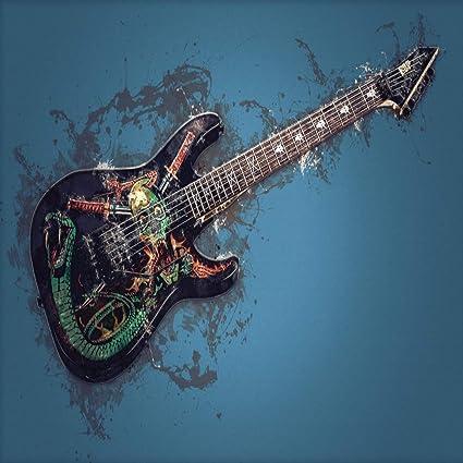 STAY TRULY Moderna Personalidad Moda Rock Retráctil Lienzo Guitarra Eléctrica Pintura, Hotel Club Casa Decoración