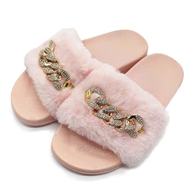 Manka Vesa Women s Furry Slide with Shinning Chain Sandals Sexy Slip On  Flats Fluffy Slippers Pink ab18b72835