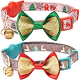 Blueberry Pet Pack of 2 Cat Collars - The Power of Lavish Holiday Blessed Christmas Trees Adjustable Breakaway Cat Collar with Bow Tie & Bell - Neck 9