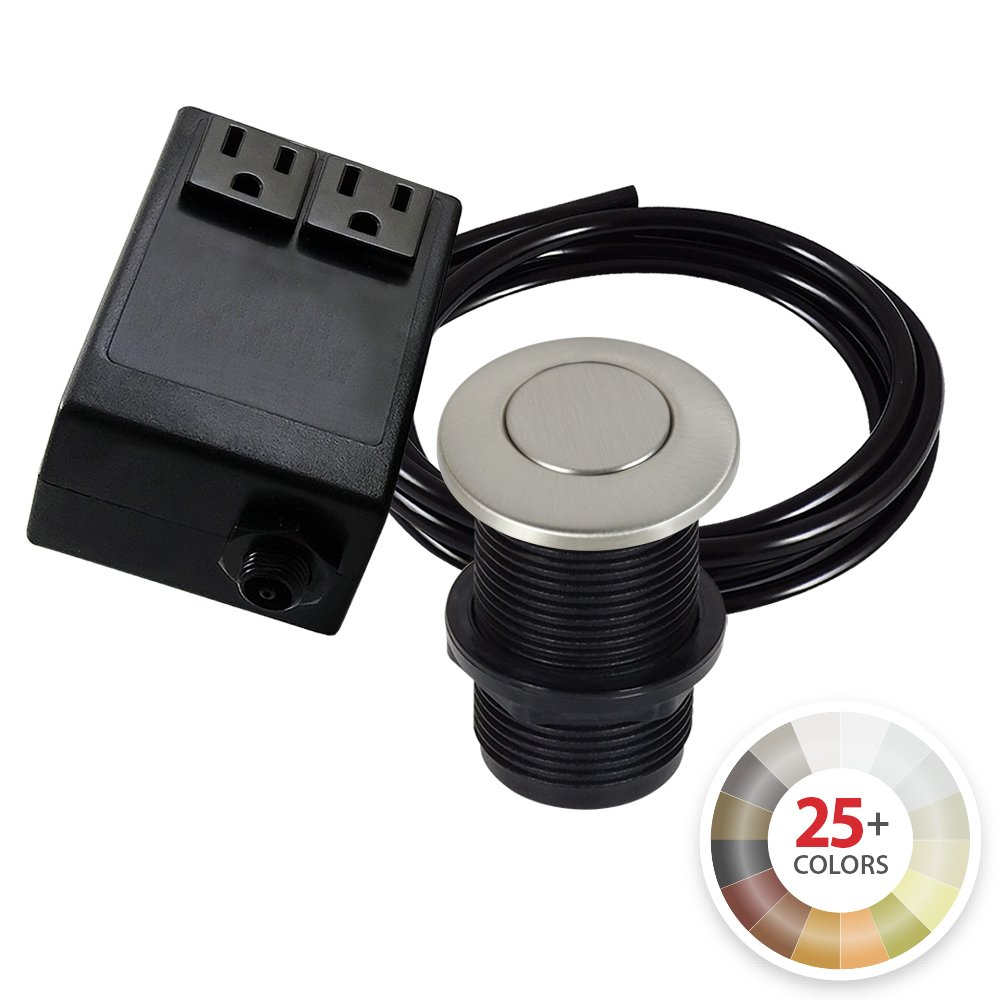 Dual Outlet Garbage Disposal Turn On/Off Sink Top Air Switch Kit in Compatible with any Garbage Disposal Unit and Available in 25+ Finishes by NORTHSTAR DÉCOR. (Standard 2-Inch, Brushed Nickel)