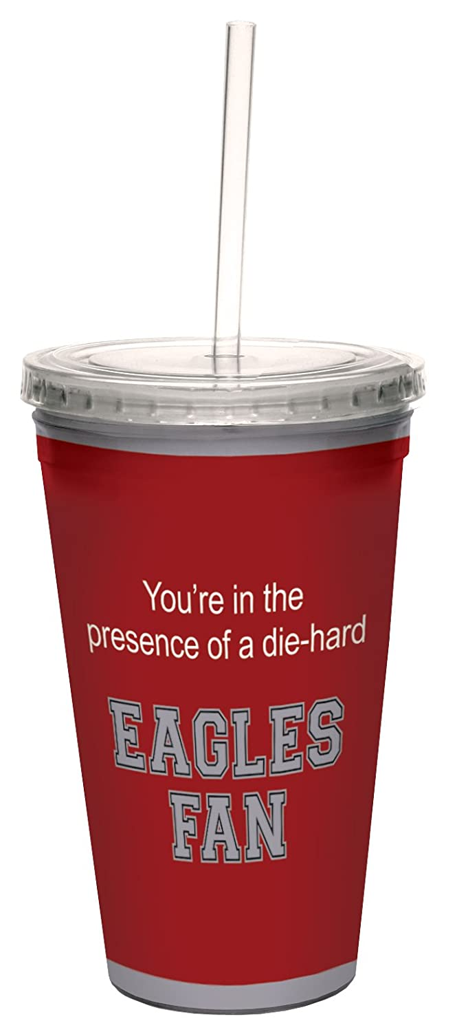 16-Ounce Tree-Free Greetings cc34815 Eagles College Basketball Artful Traveler Double-Walled Cool Cup with Reusable Straw