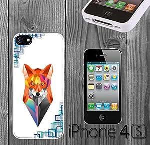 Geometric Fox Custom made Case/Cover/skin FOR iPhone 4/4s - White - Rubber Case