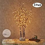 Hairui Lighted Willow Branches Brown with Fairy Lights Decor 32in 150LED, Pre lit Artificial Twig Tree Branch Lights with Timer for Indoor Home Decoration Plug in 3 Pack (Vase Excluded)