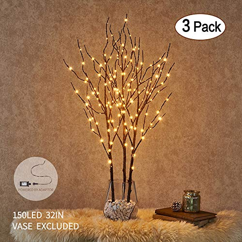 Hairui Lighted Willow Branches Brown with Fairy Lights Decor 32in 150LED, Pre lit Artificial Twig Tree Branch Lights with Timer for Indoor Home Decoration Plug in 3 Pack (Vase Excluded) -
