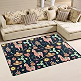 WellLee Area Rug,Mexican Watercolor Cactus Little Alpaca Floor Rug Non-Slip Doormat for Living Dining Dorm Room Bedroom Decor 60x39 inch
