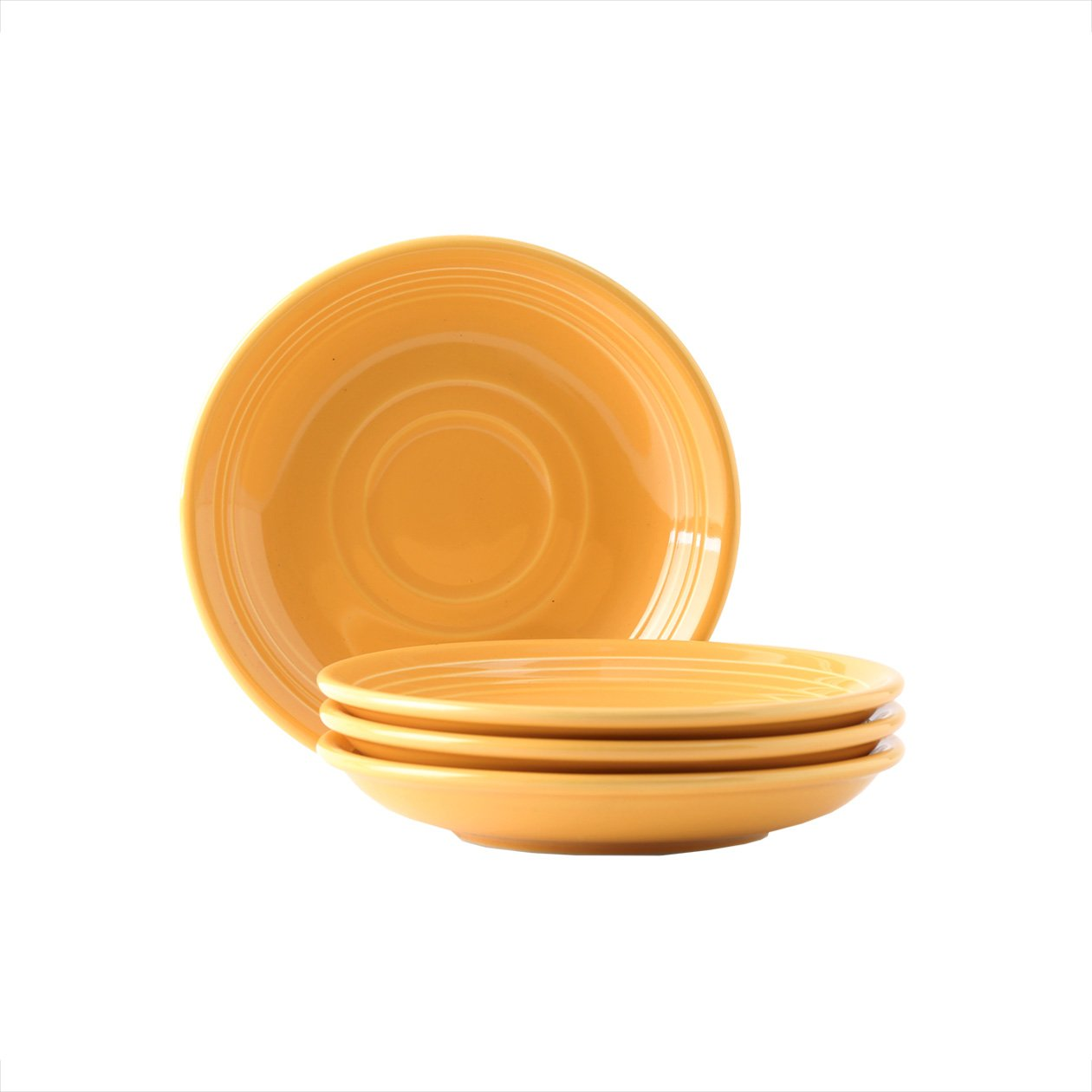 Tuxton Home Concentrix Saucer (Set of 4), 6'', Saffron Yellow; Heavy Duty; Chip Resistant; Lead and Cadmium Free; Freezer to Oven Safe up to 500F