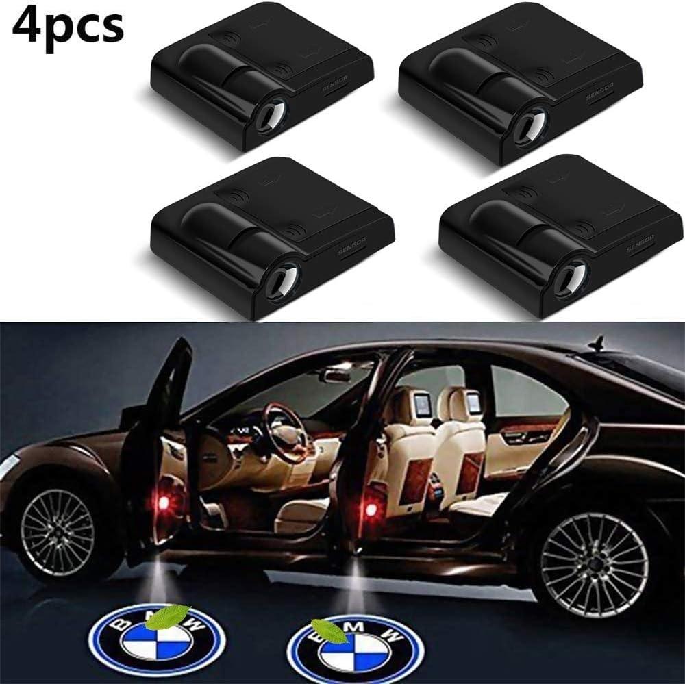 Color : Black 4er-Pack LED-Projektor-T/ür-Schatten-Willkommens-Licht-Geist Courtesy-Logo-Emblem-Lampen-Set for BMW Cars Autot/ür Willkommenslicht Universal-Projektoren