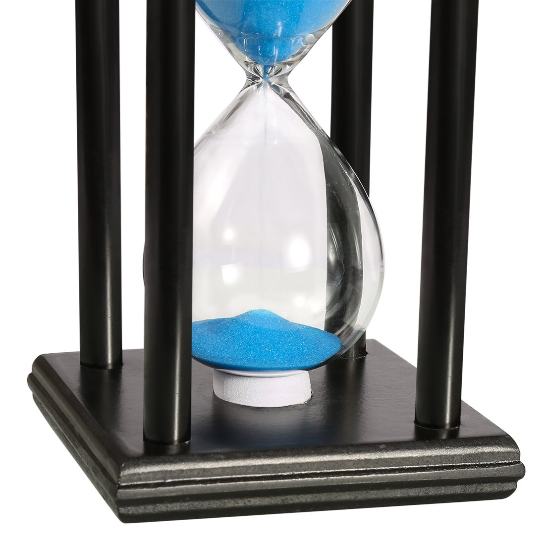 BOJIN 20 Minute Hourglass Sand Timer Wooden Black Stand Hourglass Clock for Office Kitchen Decor Home - Blue Sand by BOJIN (Image #2)
