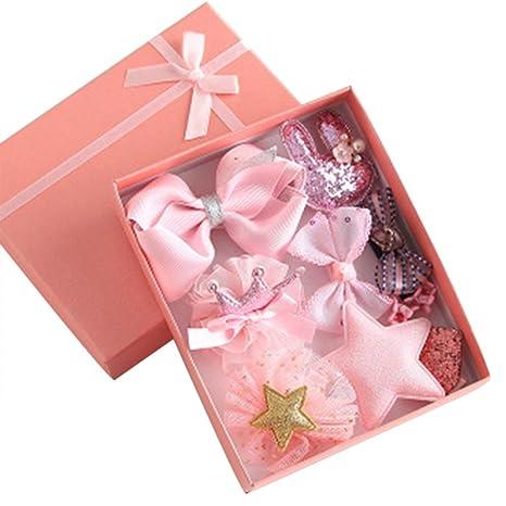 Profusión círculo 10 piezas bebé niñas lazo lazo pinza para el cinta para el pelo, diseño de flor Multiestilo regalo de cumpleaños rosa rosa ...