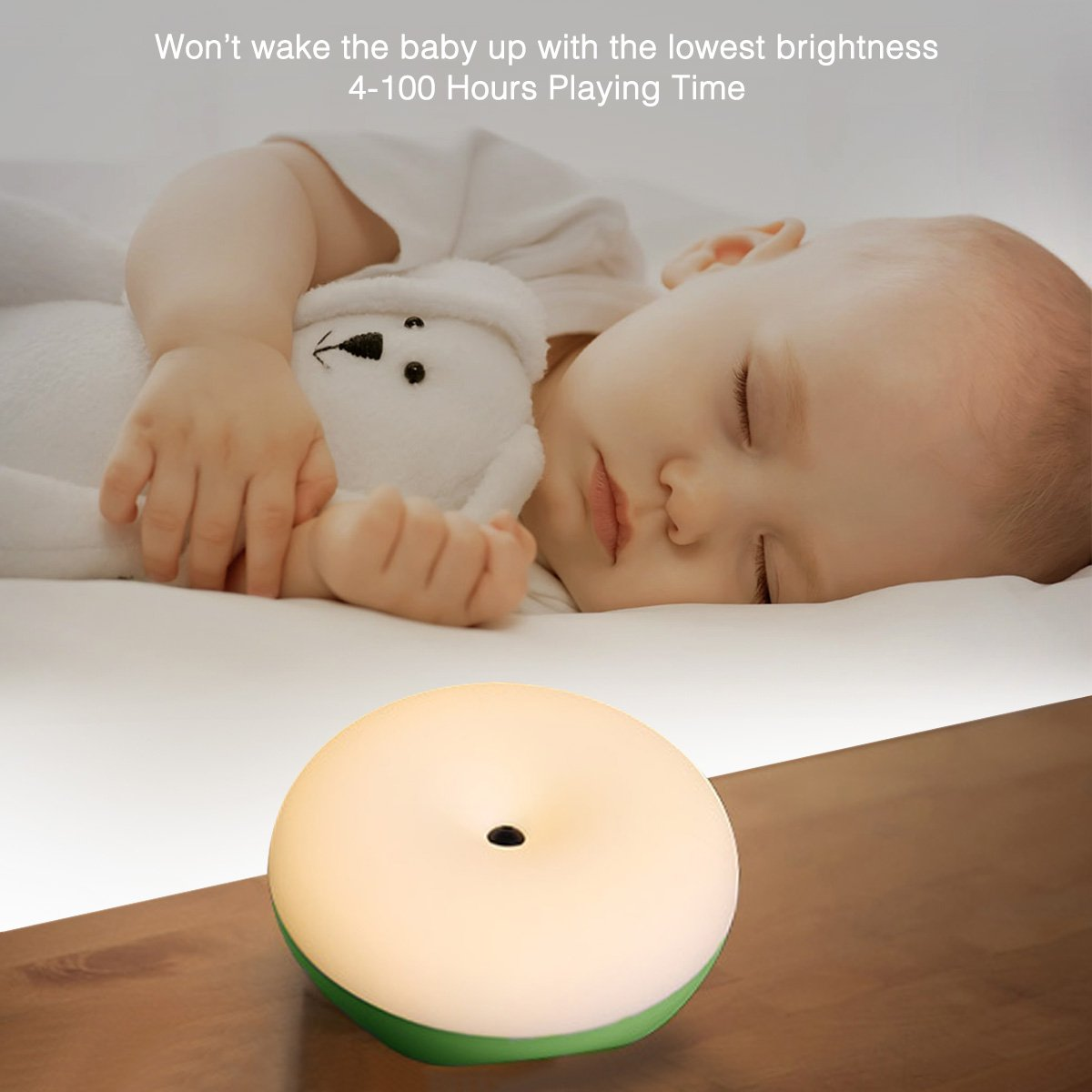Poweradd LED Table Lamp, Infinite Brightness Adjustable Eye-caring 2900K Wireless Sensor Baby Room Lamp with Hanging Loop, 4-100 Hours Playing Time, Memory Function, Wonderful Gifts, - Green.