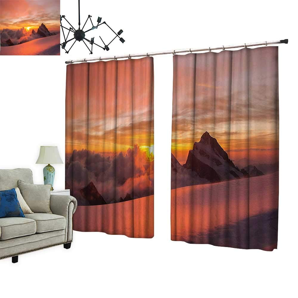 PRUNUS Curtain with Hook Sunrise in Swiss Alps with Magical View of Mountain Natural Paradise White Blackout Draperies for Bedroom,W84.3 xL96.5