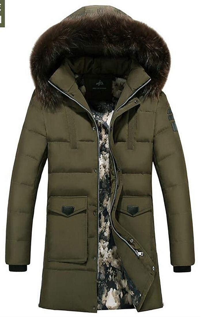 Jofemuho Men Faux Fur Hooded Warm Winter Longline Fleece Quilted Jacket Coat Outerwear