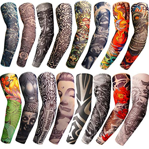 Nylon Arts Fake Temporary Tattoo Arm Sunscreen Sleeves-Tattoo Soft for Men Women (One size fits most, 26)