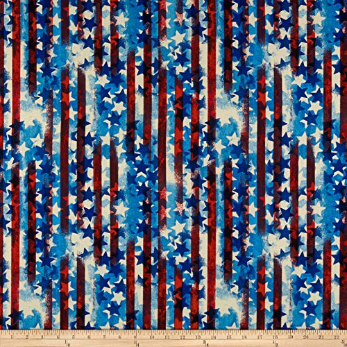 Santee Print Works United We Stand Abstract Stripe Fabric, Red/White/Blue, Fabric By The Yard ()