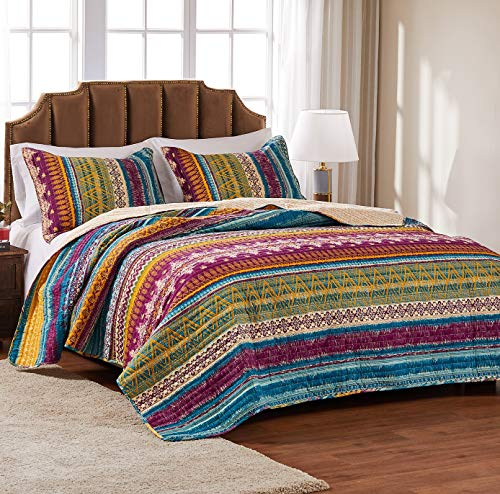 Greenland Home Southwest Quilt Set, 3Piece King/California King, Gold