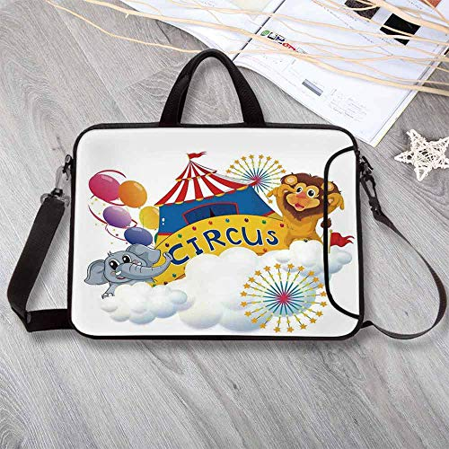 "(Circus Decor Lightweight Neoprene Laptop Bag,Illustration of a Lion and an Elephant Near The Circus Signage Over Clouds Decorative Laptop Bag for Laptop Tablet PC,12.6""L x 9.4""W x 0.8""H)"