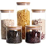 Stackable Kitchen Canisters Set, Pack of 5 Clear Glass Food Storage Jars Containers with Airtight Bamboo Lid for Candy, Cooki