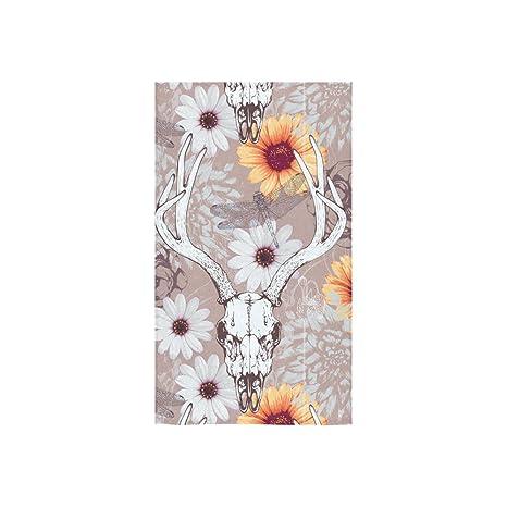 interestprint renos cabeza de ciervo Buck de ciervo calavera Floral flores girasol libélula toallas de baño