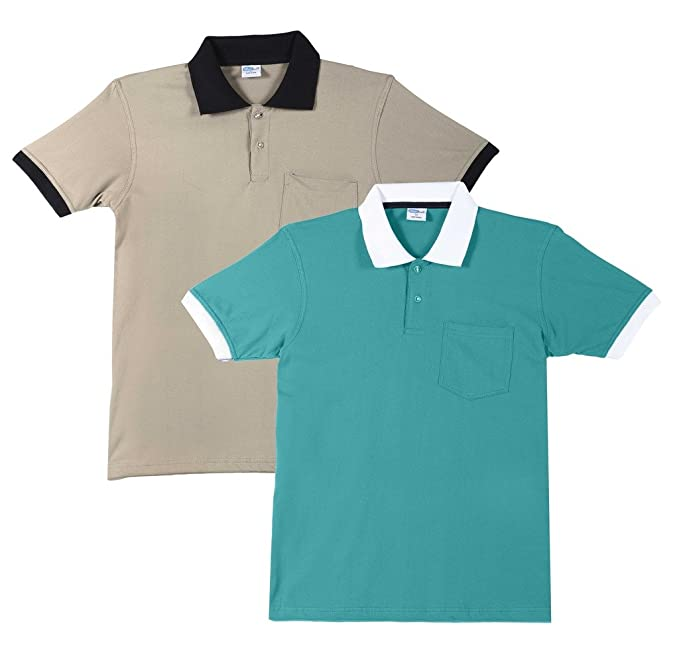 4aebda723cc FLEXIMAA Men s Cotton Polo Collar T-Shirts with Pocket Opposite Color Collar    Cuff (Pack of 2) - Shade Green   Biscuit Colors.