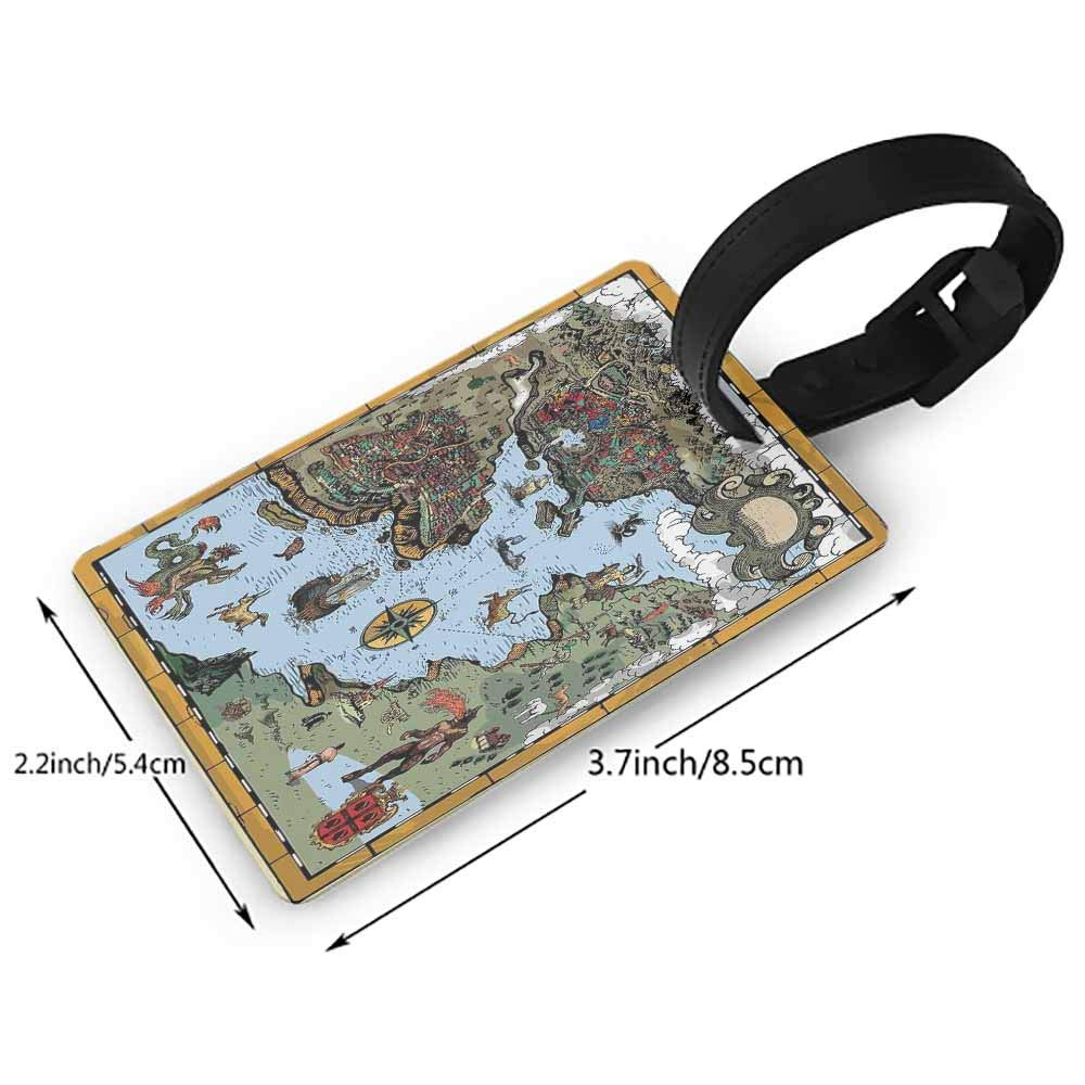 Luggage Tags with Privacy Cover,Compass,Black and White Compass for Finding Your Way on the Sea Marine Life Exploration,Multicolor One Size Straps Suitcase Black White