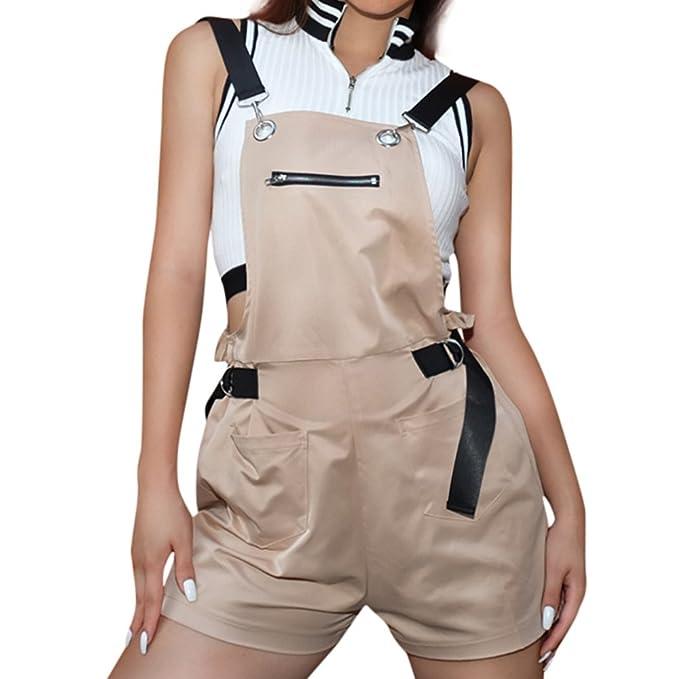b47c5e8a4 ABASSKY Summer Women Elastic Waist Pocket Zipper Panties Shorts Casual  Playsuits M Khaki