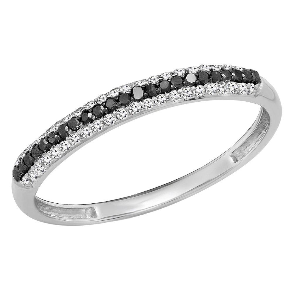 Dazzlingrock Collection 0.23 Carat (Ctw) 10K Black & White Diamond Ladies Anniversary Wedding Band, White Gold, Size 7