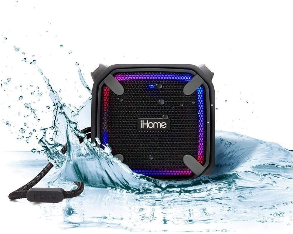 Mini-Blue iHome Weather Tough Portable Rechargeable Bluetooth Speaker with Speakerphone and LED Accent Lighting
