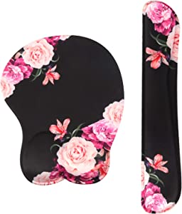 DQQH Ergonomic Mouse Pad with Wrist Support Gel and Keyboard Wrist Rest Pad, Mouse Wrist Cushion Support for Office, Computer, Laptop, Mac, Comfortable,and Pain Relief, Peony Flower