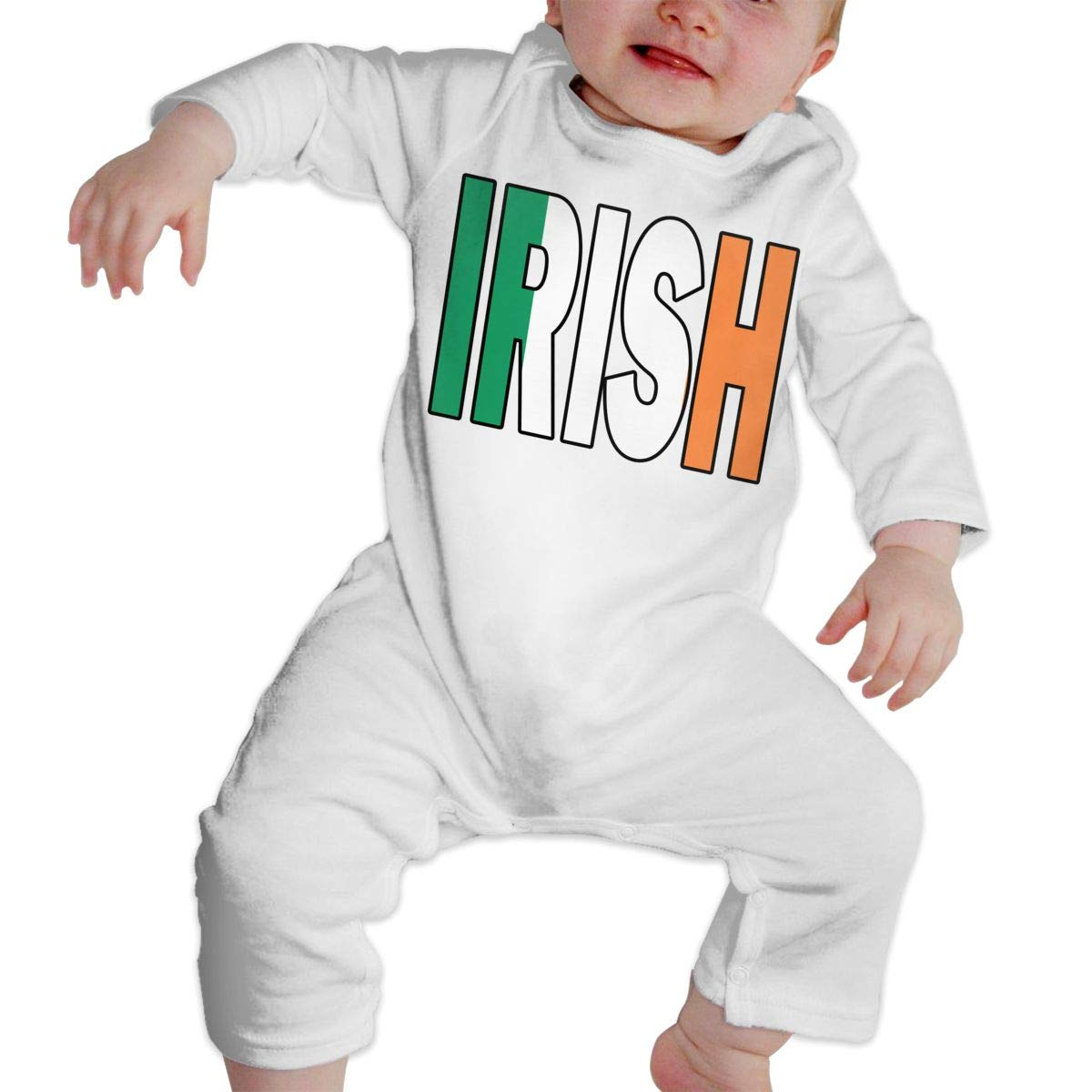 A1BY-5US Infant Babys Cotton Long Sleeve Irish Flag Jumpsuit Romper One-Piece Romper Clothes