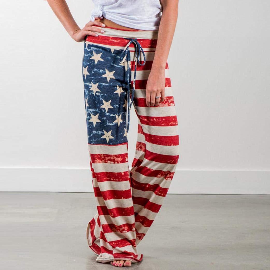 ❤ Pantalones de Pierna Ancha con cordón de Mujer, Las Polainas de la Bandera Americana Sueltan la impresión Absolute: Amazon.es: Ropa y accesorios