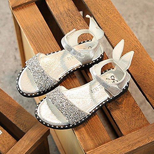 Hunpta Sandalen Mädchen, Kinder Infant Kinder Mädchen Kaninchen Ohr Kristall Prinzessin Sandalen Casual Roman Schuhe Weiß