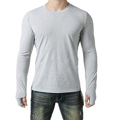 sunshineBoby Herren T-Shirt Sweatshirt Rundhals Ausschnitt Kurzarm  Longsleeve Top Basic Shirt Crew Neck Mode 2f8ba8b4c8