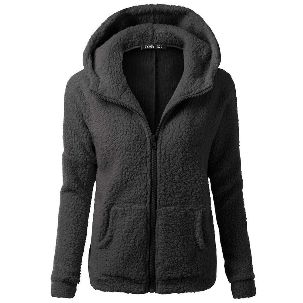 HGWXX7 Women's Hoodie Solid Winter Warm Plus Size Cotton Zipper Coat Tops Blouse Sweatshirt Outwear(L,Black)