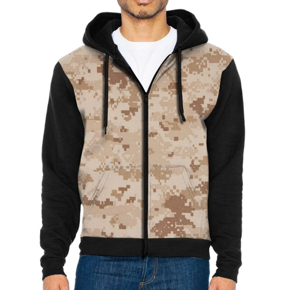 Mens Cool Army Camouflage Full Zip Up Hoodie Jacket With Pocket