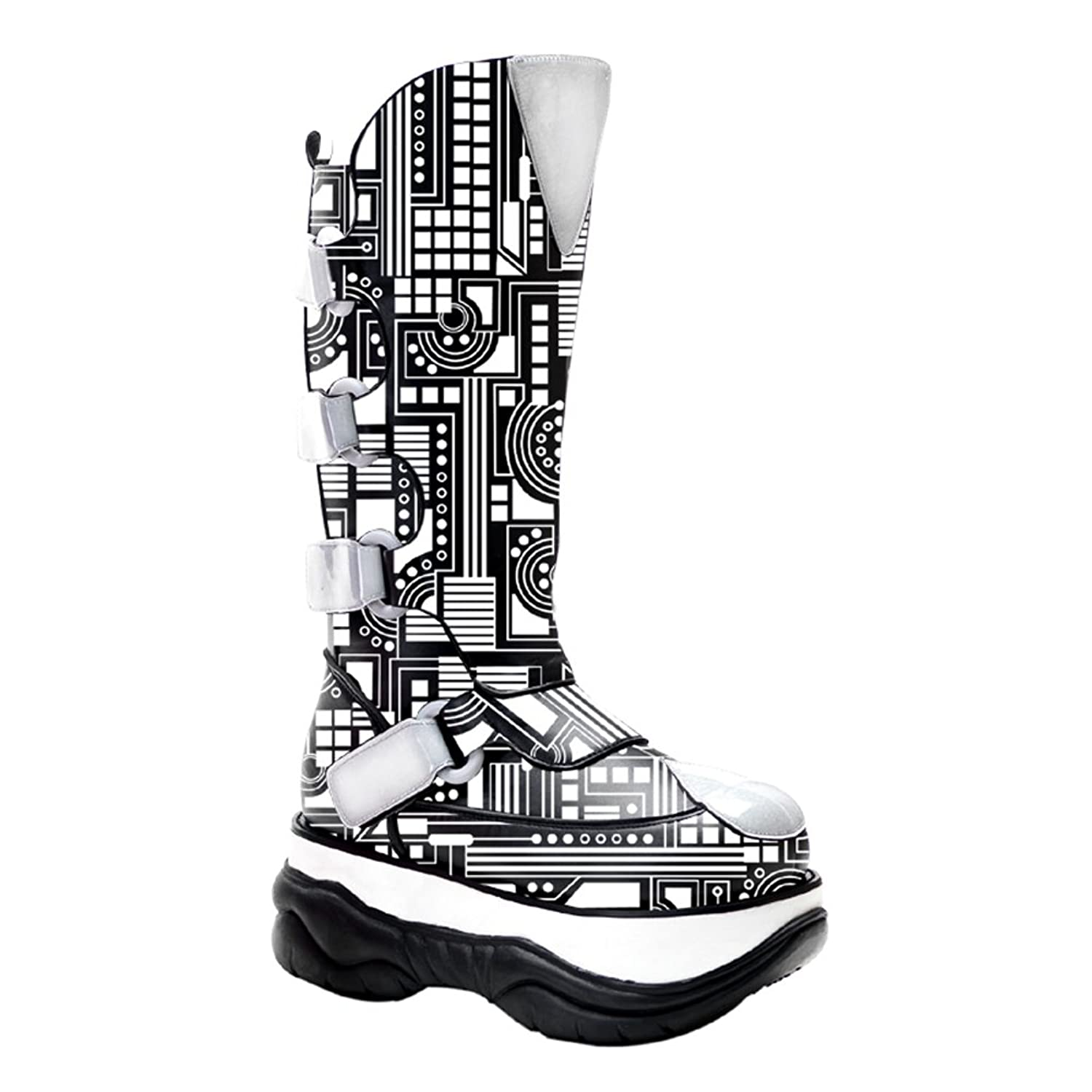 3 Inch Platform MENS BOOTS Neon UV Reative Futuristic Cyber Boots