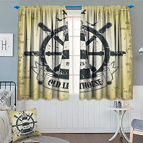 Nautical Seaside Home Thermal Insulating Blackout Curtain Coastal Old Lighthouse Ship Helm Wheel Antiqued Est 1875 Seabirds Seagulls Patterned Drape For Glass Door 52