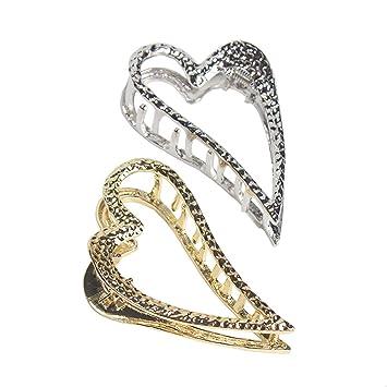 Silver heart hair clips