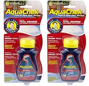AquaChek 2 Red Swimming Pool Spa Test Kit Strips Bromine pH Alkalinity 50 pack